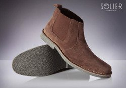 Classic leather suede Chelsea Jodhpur boots for men + dark brown SB08 belt