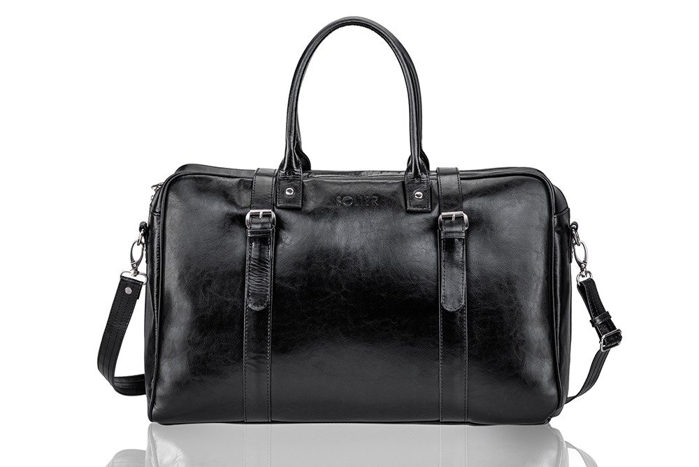f981e6b243ee6 Black leather men`s weekend bag HAMILTON Click to zoom ...