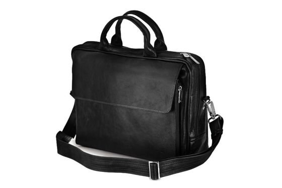 Black leather shoulder laptop bag Solier Rothen SL30