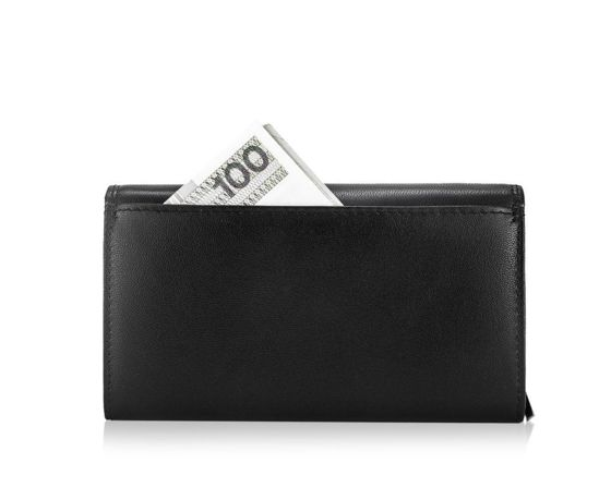 Elegant Women's leather wallet Solier P23 black RFID
