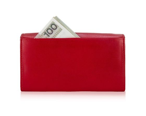 Elegant Women's leather wallet Solier P24 red RFID