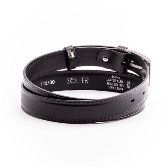 Elegant black leather belt SOLIER SB09