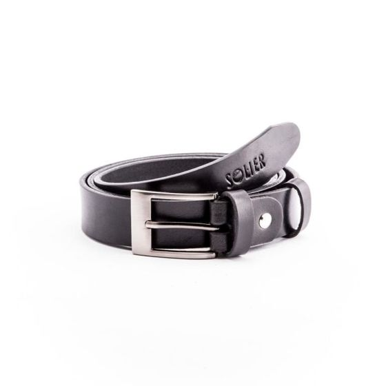 Elegant black leather belt SOLIER SB10