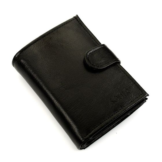 Elegant black leather wallet SOLIER SW04
