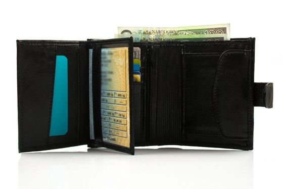 Elegant black leather wallet SOLIER SW04B