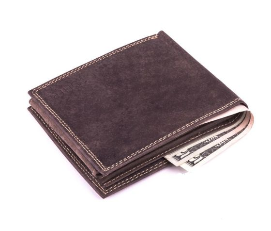 Elegant black leather wallet SOLIER SW24 BROWN