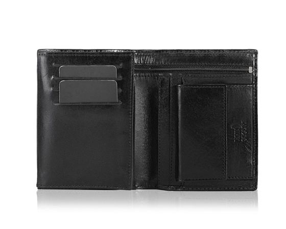 Elegant black leather wallet SOLIER SW28