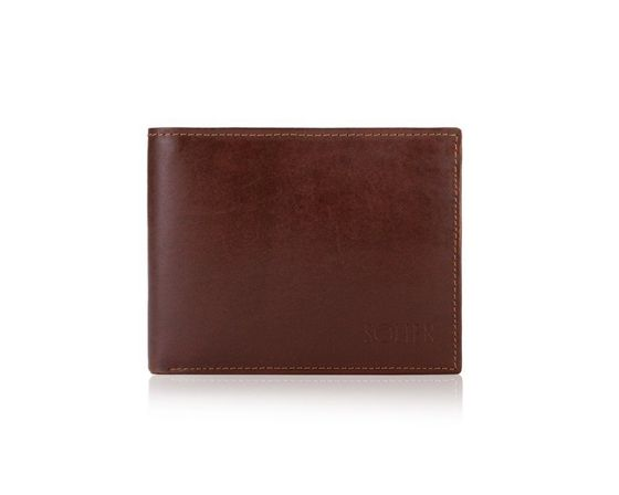 Elegant brown leather wallet RFID SOLIER SW33