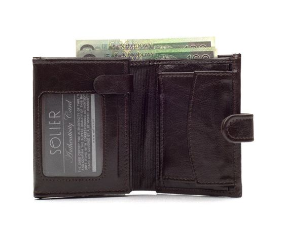 Elegant brown leather wallet SOLIER SW01B