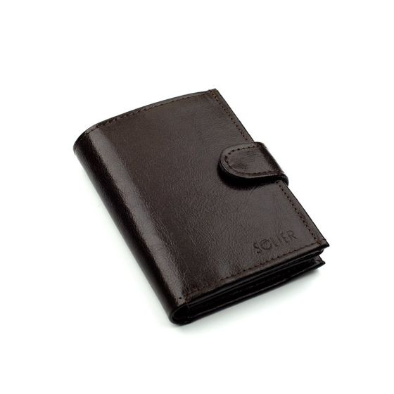 Elegant brown leather wallet SOLIER SW04
