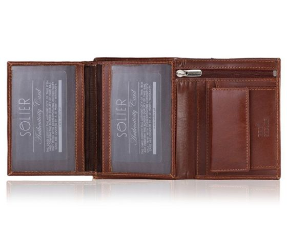 Elegant brown leather wallet SOLIER SW28