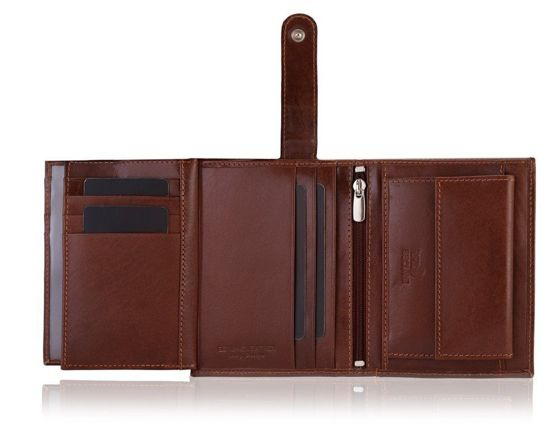 Elegant brown leather wallet SOLIER SW30