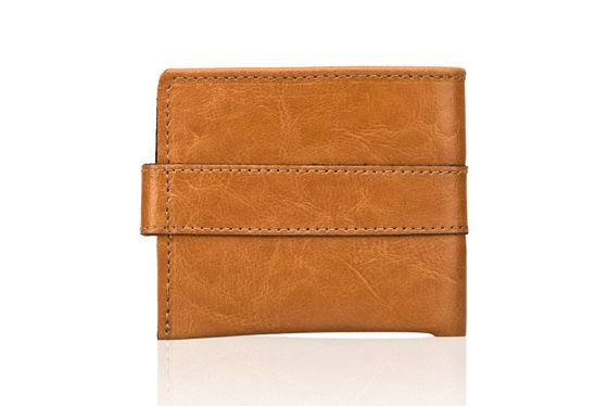 Elegant camel leather wallet SOLIER SW05