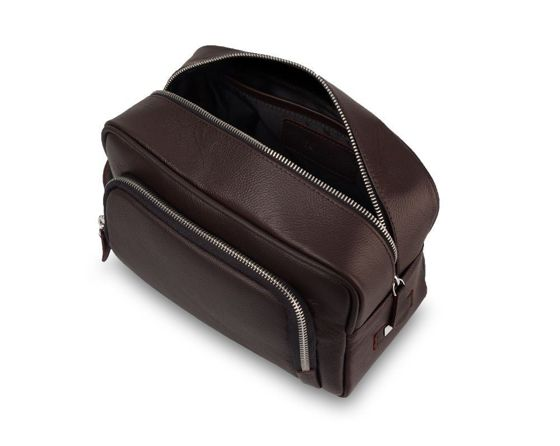 Elegant genuine leather men's beauty bag SK04 SOLIER dark brown