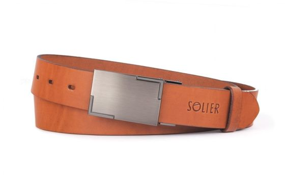 Elegant light brown leather belt SOLIER SB12