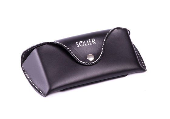 Genuine leather spectacle case Solier SA20 black