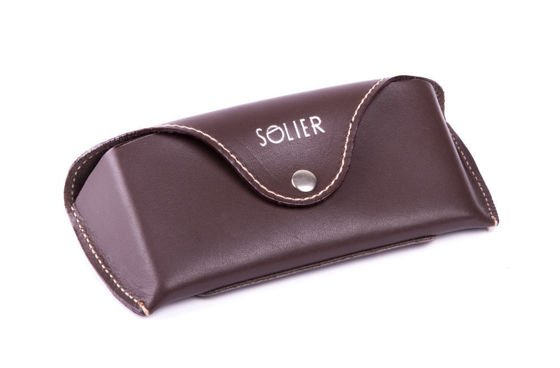 Genuine leather spectacle case Solier SA20 brown