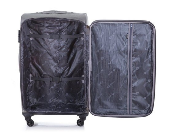 Large soft luggage XL Solier STL1311 grey-blue