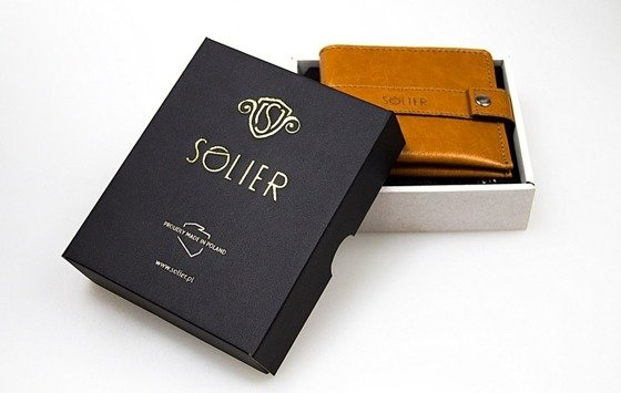 Leather men's coin wallet SOLIER SA10 BROWN