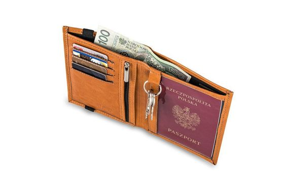 Light brown leather wallet / passport holder SOLIER SW07