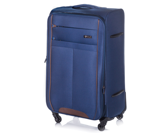 Medium soft luggage M Solier STL1311 navy-brown