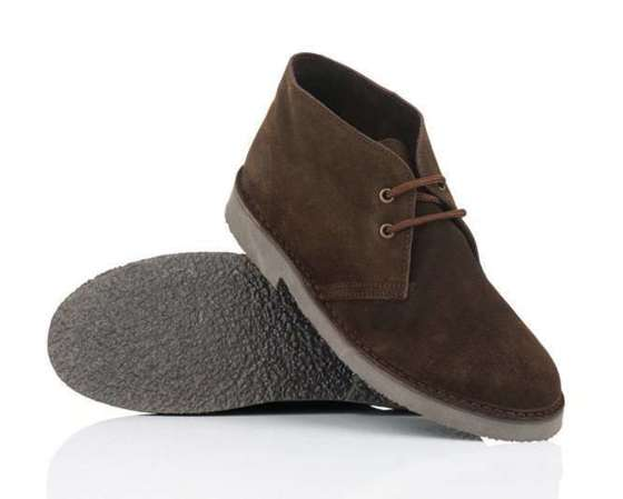 Men's stylish leather Chukka shoes / boots dark brown