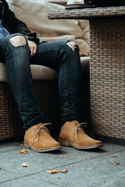 Men's stylish leather suede chukka boots sand M420BS
