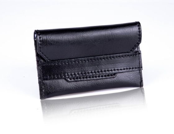 Slim leather men's card holder Solier SW19 black
