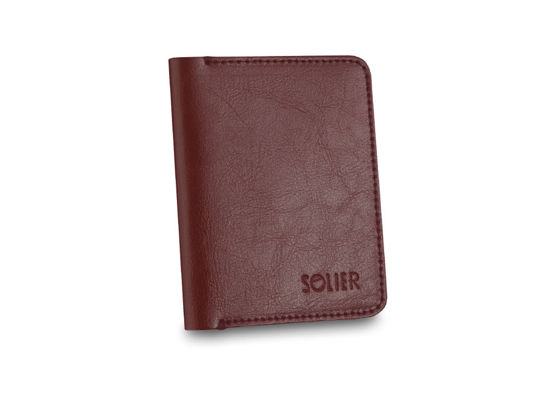 Slim leather men's wallet SOLIER SW11 SLIM maroon