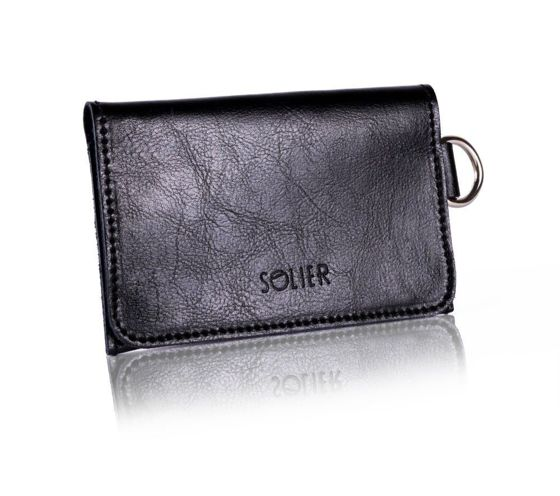 Slim leather men's wallet SOLIER SW20 black