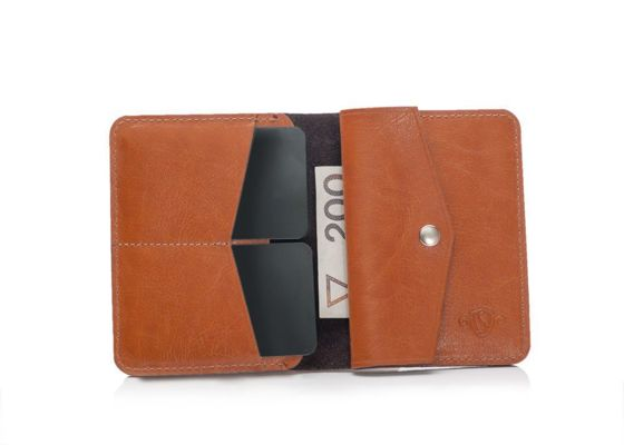 Slim leather men's wallet with coin holder SOLIER SW15 SLIM LIGHT BROWN