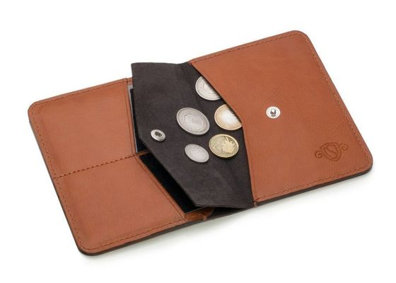 Slim leather men's wallet with coin holder SOLIER SW15A SLIM LIGHT BROWN