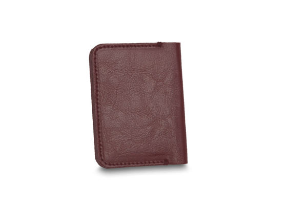 Slim leather men's wallet with coin holder SOLIER SW16 SLIM brown maroon