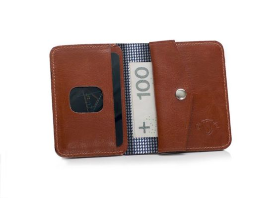 Slim leather men's wallet with coin holder SOLIER SW16A SLIM BROWN