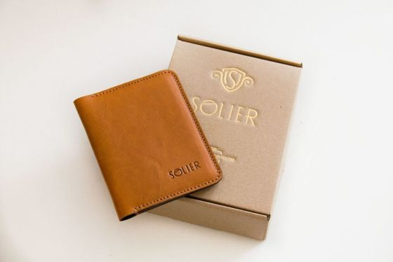 Slim leather men's wallet with coin holder SOLIER SW16A SLIM LIGHT BROWN