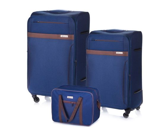 Soft luggage set Solier STL1316 navy-brown