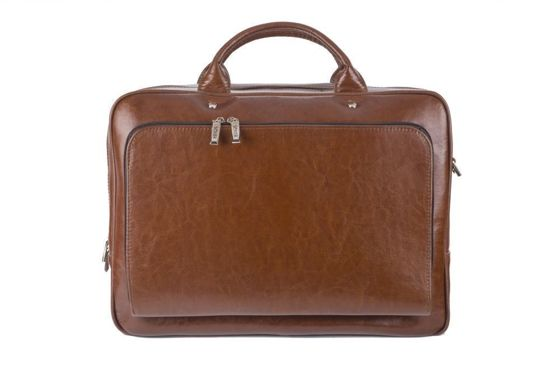 Vintage Brown leather shoulder laptop bag Solier Rothen SL30